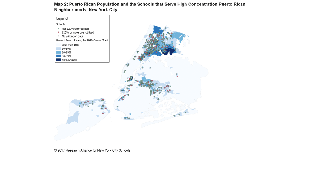 Puerto Rican Population and the Schools that Serve High Concentration Puerto Rican Neighborhoods, New York City