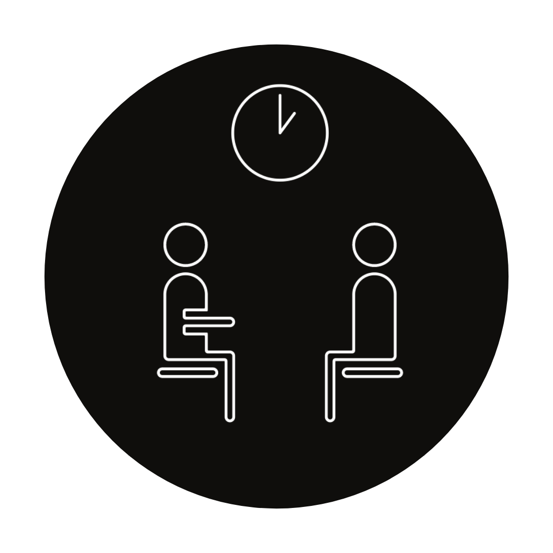 two people figures speaking face to face
