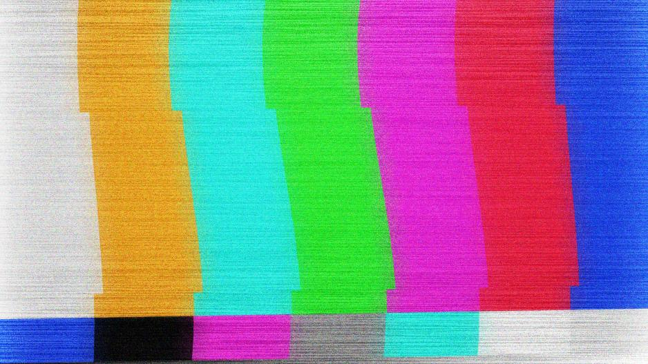 Color bars glitch on a TV