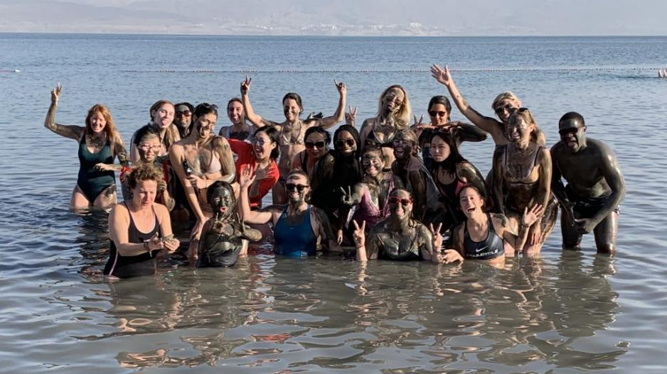 A group of students posing in the Dead Sea.