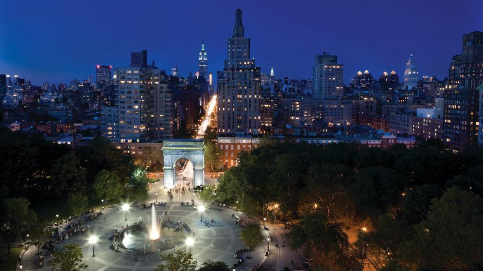 Washington Square Park and the New York City skyline at night