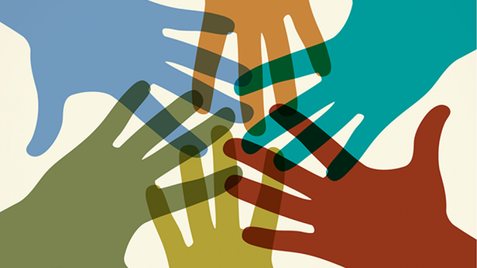 Silhouettes of six hands in different colors