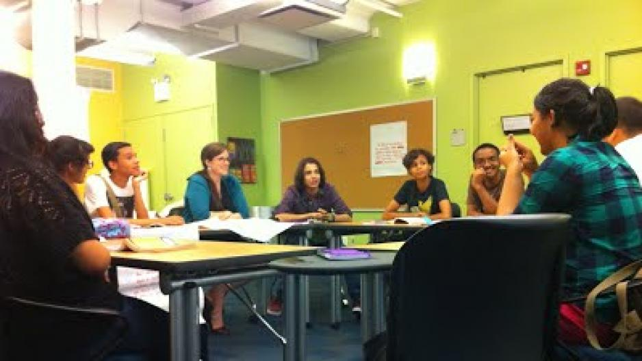 Classroom at NYU attended by high school students