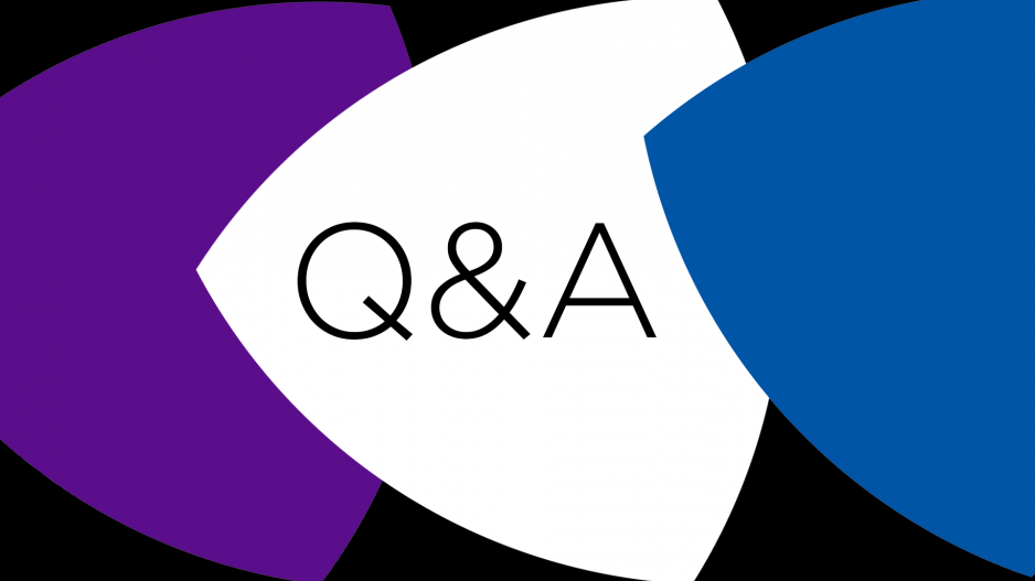 Three shapes and the letters Q and A
