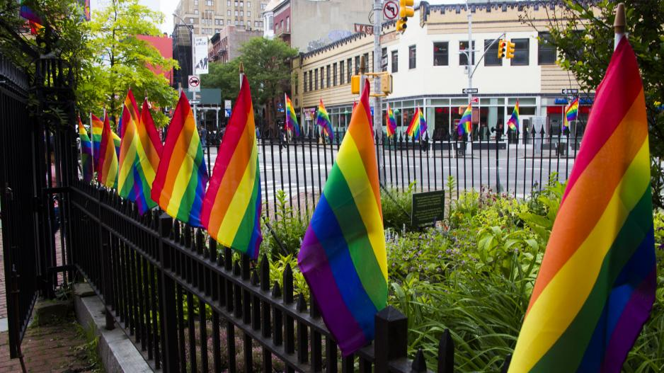 Pride flags across from the Stonewall Inn in Greenwich Village