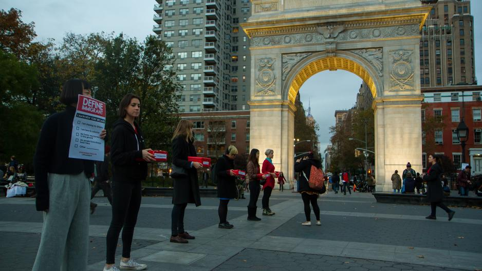 Students with public work in Washington Square Park