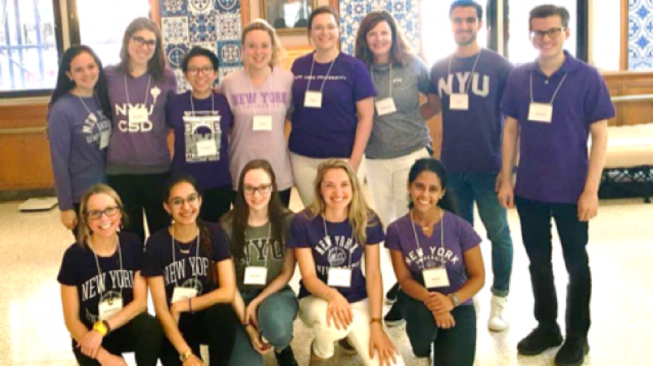 Drs Molfenter and Woolf (center, back row) with a team of NYU students from the collecting data at a local seniors' center in Manhattan.