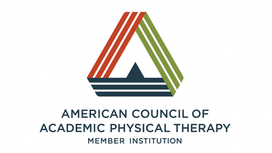 American Council of Academic Physical Therapy Member Institution with the organization's triangular logo.