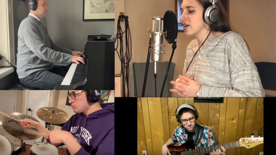 four student musicians on Zoom