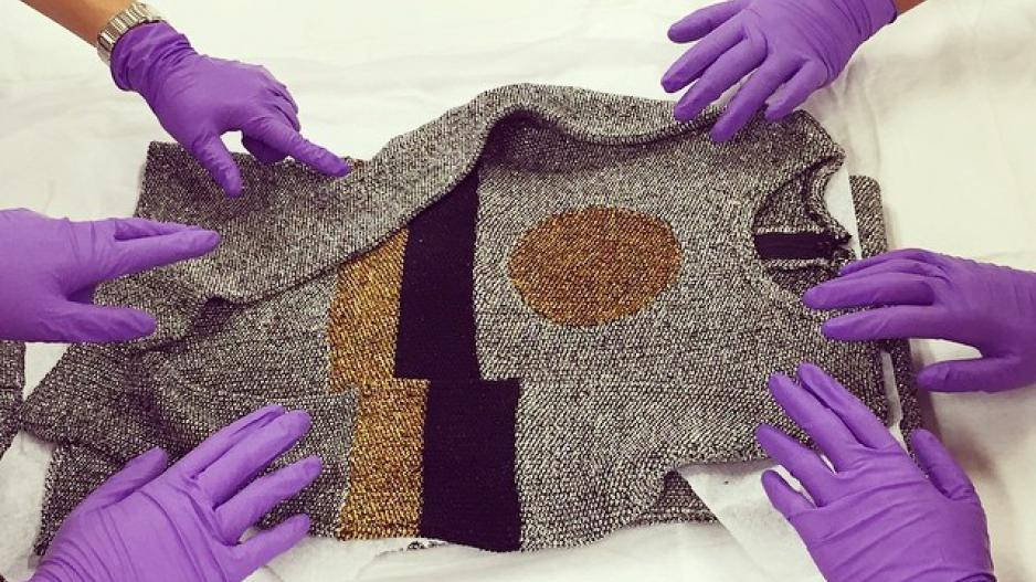 Purple gloves on clothing item.