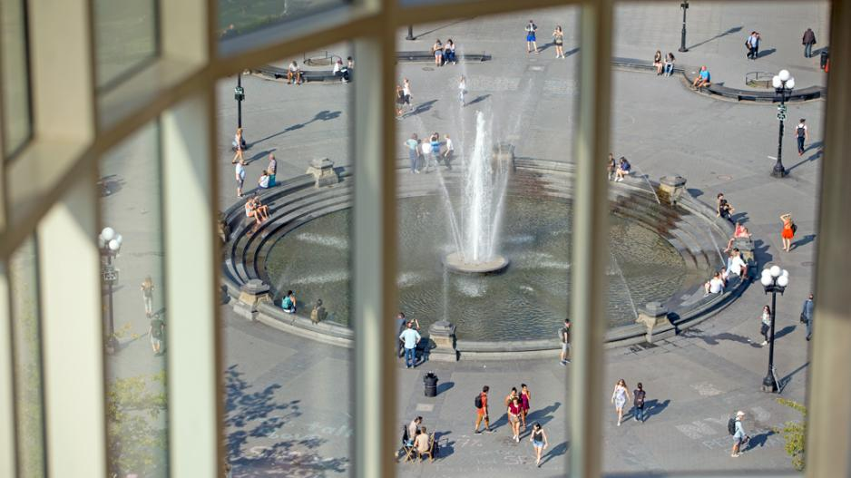 Washington Square fountain viewed from a window on an upper floor of Kimmel Center