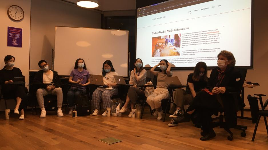 Instructor Anna Greenspan gives lecture to Go Local students at NYU Shanghai.