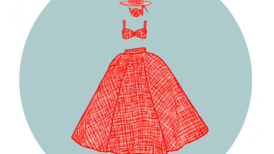 llustration of a red gingham dress with a matching face mask and hat, designed by Christian Siriano.