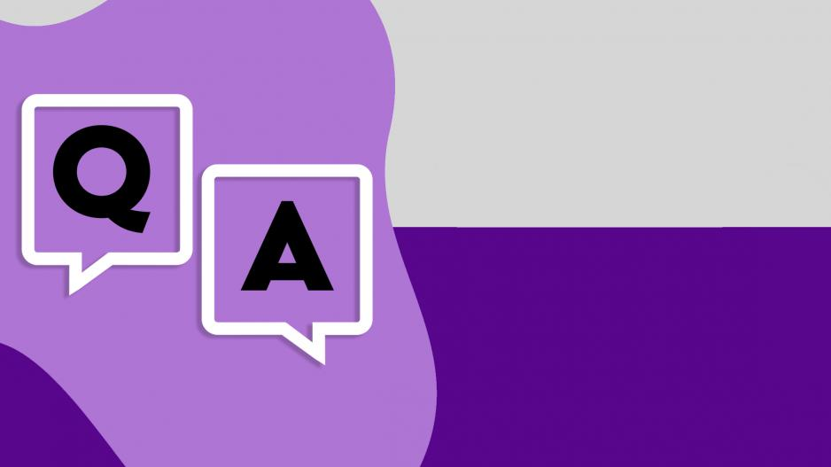 "A purple and grey graphic with two speech bubbles that read ""Q&A"""
