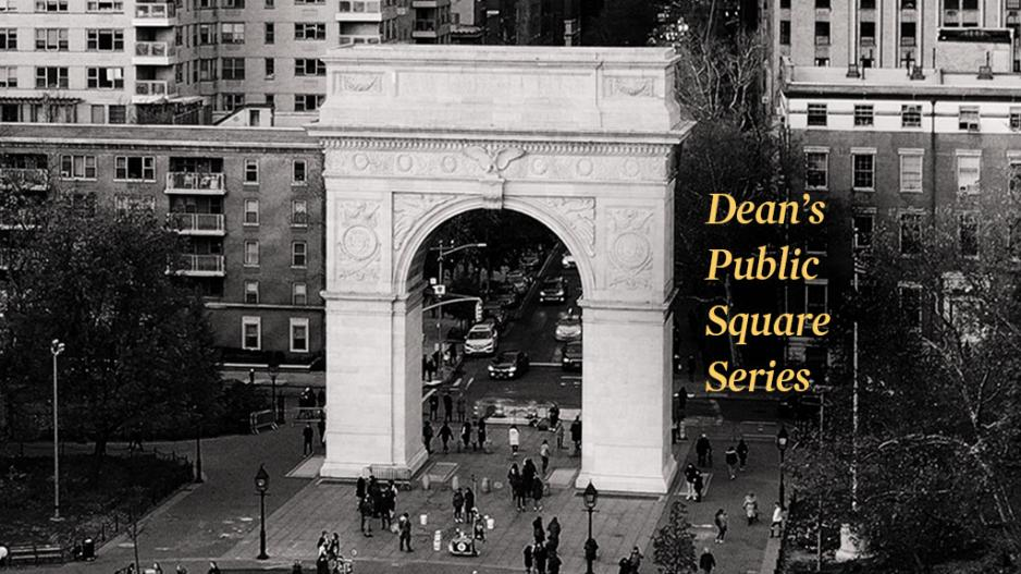 "Image of the Washington Square Park with  ""Dean's Public Square Series"""