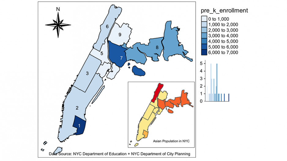 Map of Manhattan showing increase in Pre-k enrollment in Asian population in NYC from 2018 to 2019