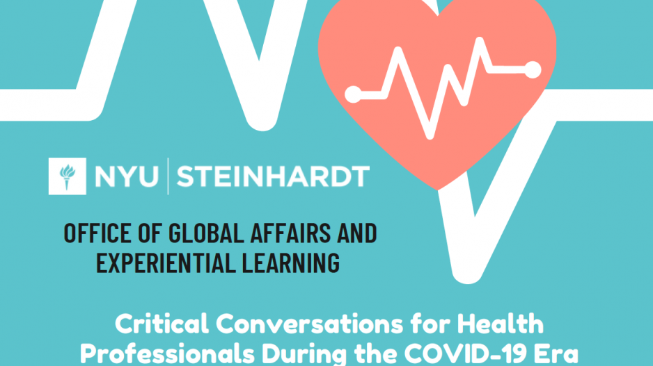 "Image showing an overlay of two heartlines with text saying, ""Office of Global Affairs and Experiential Learning: Critical Conversations for Health Professionals During COVID-19 Era"""