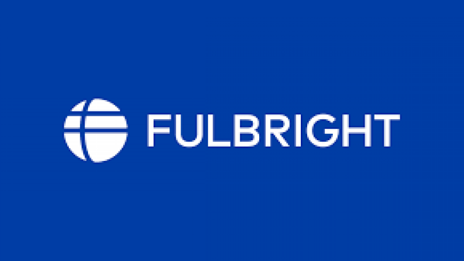 "A picture of a white globe with white text to the right of it that says ""Fulbright"""