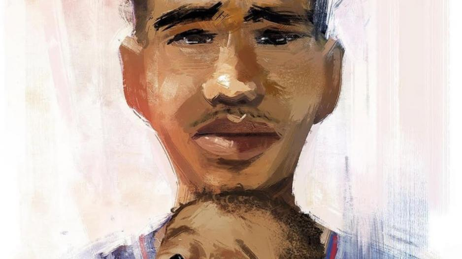 A painting of Daunte Wright and his young son