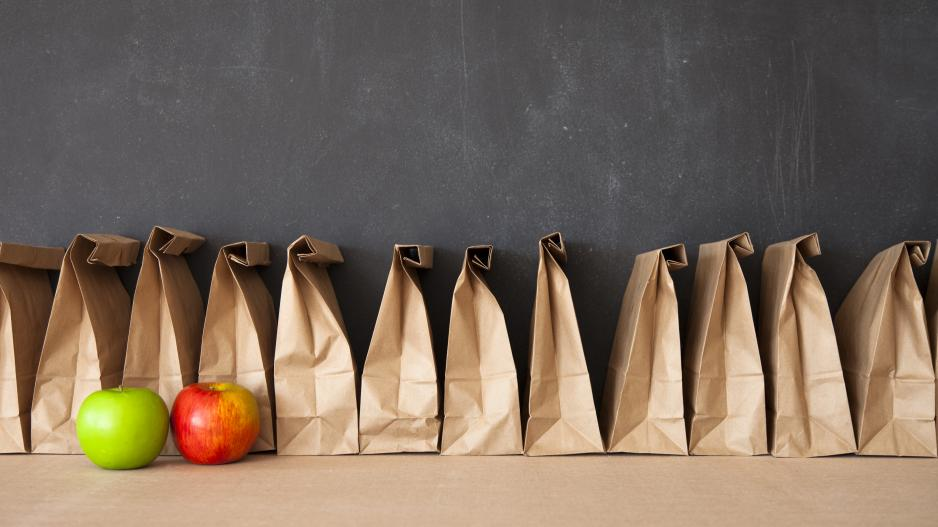 Photo of 12 brown paper lunch bags lined up in front of a blackboard, there are two apples in front of the paper bags