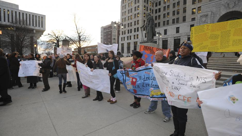 Protesters at the New York Legislator building in Albany, NY.
