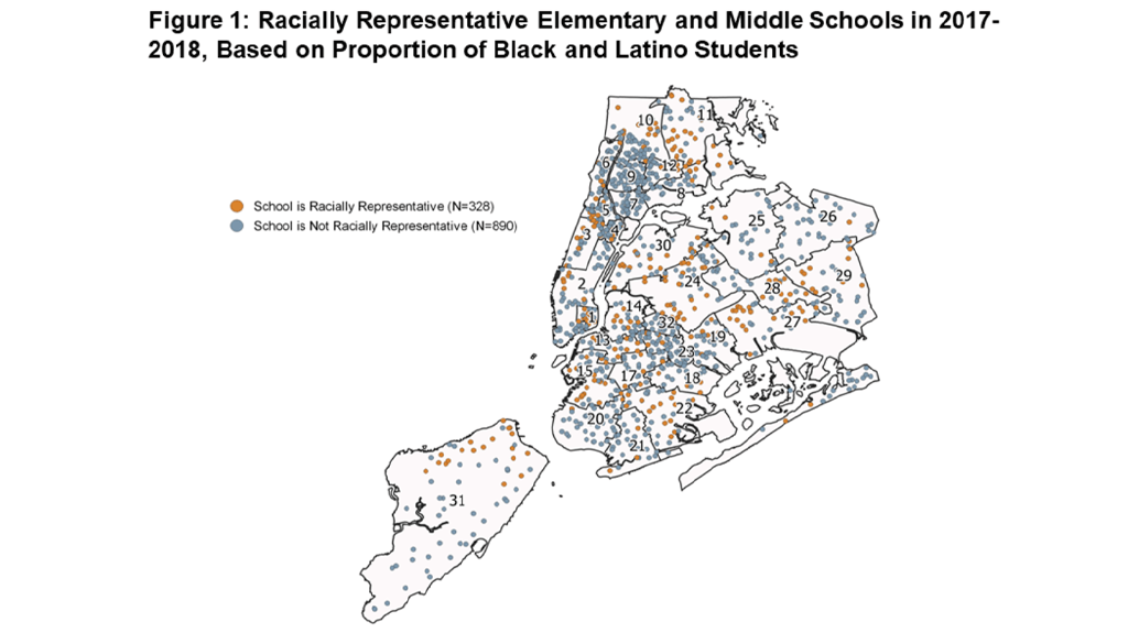 Figure 1: Racially Representative Elementary and Middle Schools in 2017-2018, Based on Proportion of Black and Latino Students