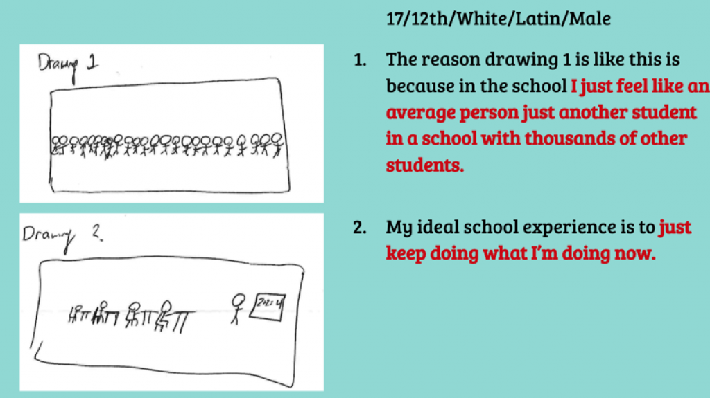 Drawing and excerpt of data that is evidence of white students generally feeling they were treated fairly