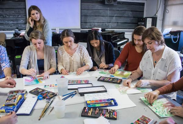 MA Art Therapy Students at workshop