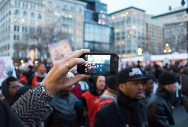 Cellphone taking a video at a Black Lives Matter protest