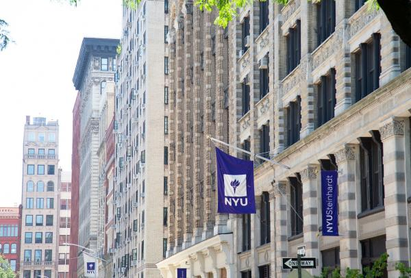 NYU flag in front of Pless Hall