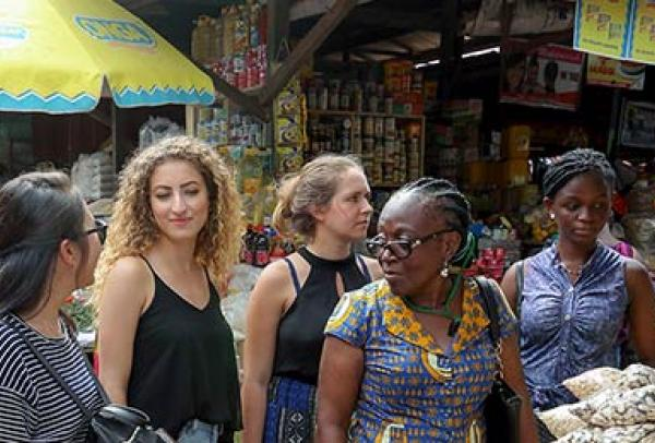Students at the food market in Accra