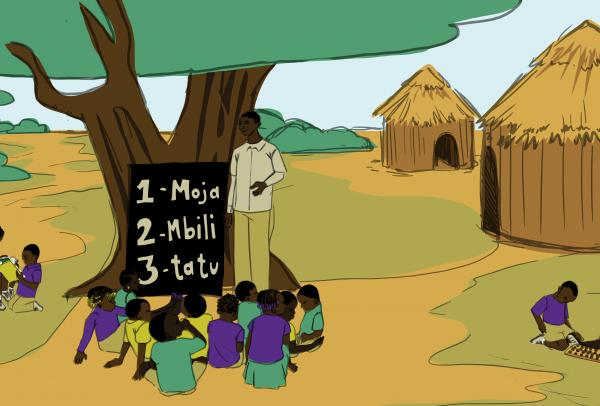 Man teaching numbers to children under a tree