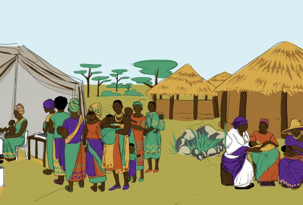 Illustration of people in African village