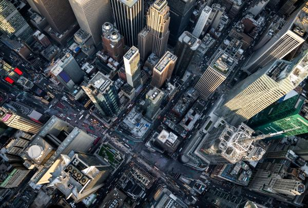 An aerial photo of New York City