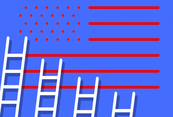 Four ladders of descending height resting against an American flag