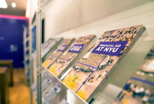 Brochures displayed at the Welcome Center