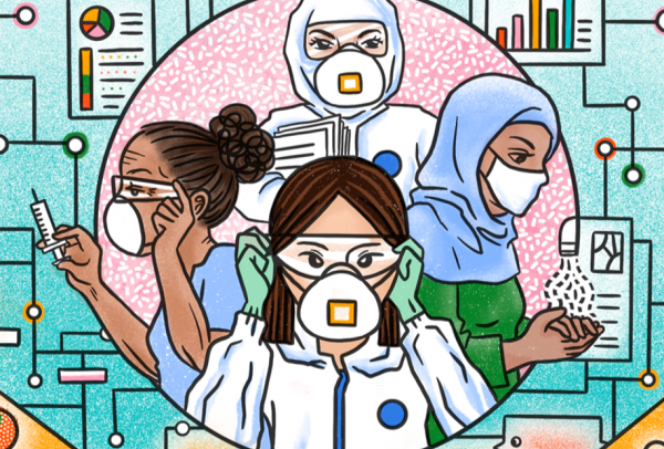 A cartoon drawing of four women in a circle wearing protective masks. One is washing her hands, one is holding a syringe, one is putting on protective glasses and one is holding papers.