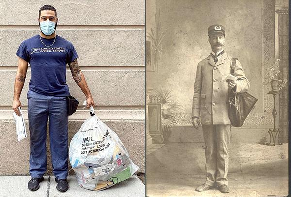 Postal worker today and vintage photo of postal worker.