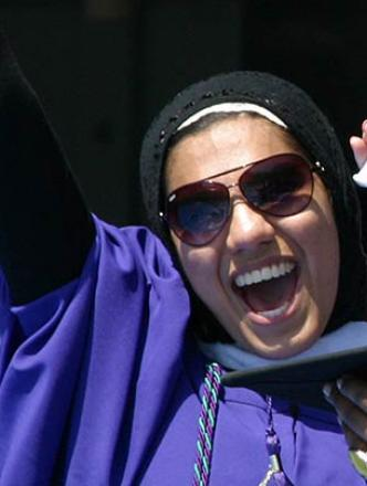 Students celebrating at NYU's Commencement