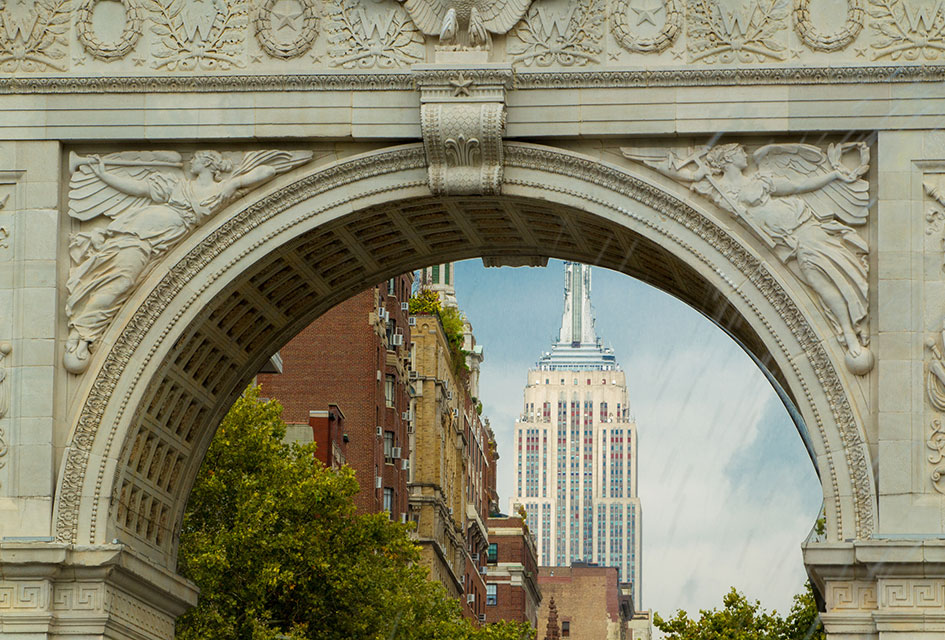 Washington Square Arch with the Empire State Building in the background